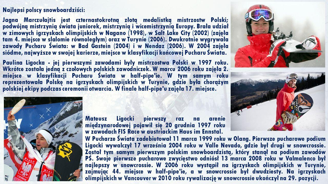 Najlepsi polscy snowboardziści: Jagna Marczułajtis jest czternastokrotną złotą medalistką mistrzostw Polski; podwójną mistrzynią świata juniorek, mist