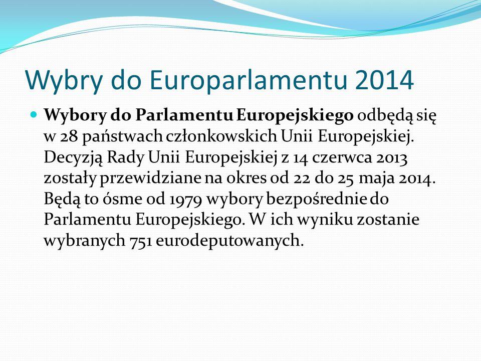 Wybry do Europarlamentu 2014 Wybory do Parlamentu Europejskiego odbędą się w 28 państwach członkowskich Unii Europejskiej.