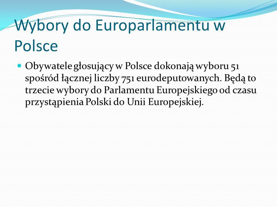 Wybory do Europarlamentu w Polsce Obywatele głosujący w Polsce dokonają wyboru 51 spośród łącznej liczby 751 eurodeputowanych. Będą to trzecie wybory