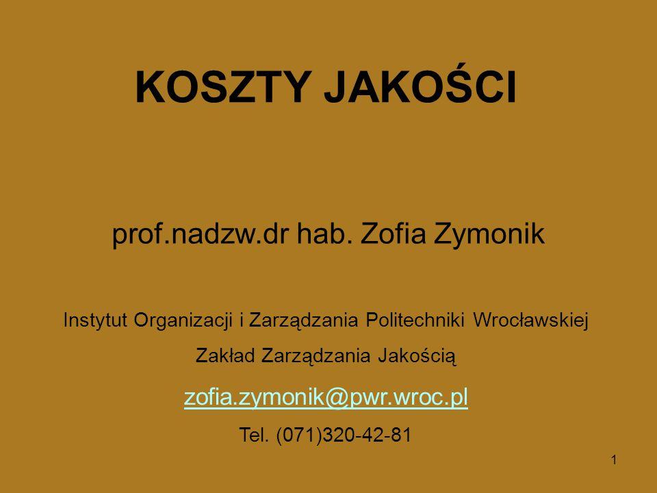 1 Instytut Organizacji i Zarządzania Politechniki Wrocławskiej Zakład Zarządzania Jakością zofia.zymonik@pwr.wroc.pl Tel.