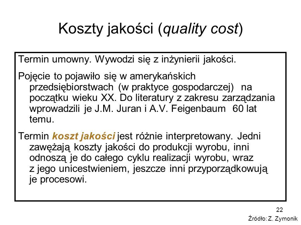 Koszty jakości (quality cost) Termin umowny.Wywodzi się z inżynierii jakości.