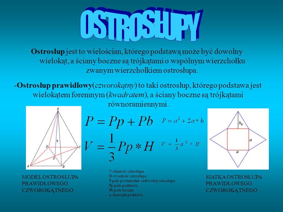 Ostrosłup jest to wielościan, którego podstawą może być dowolny wielokąt, a ściany boczne są trójkątami o wspólnym wierzchołku zwanym wierzchołkiem os