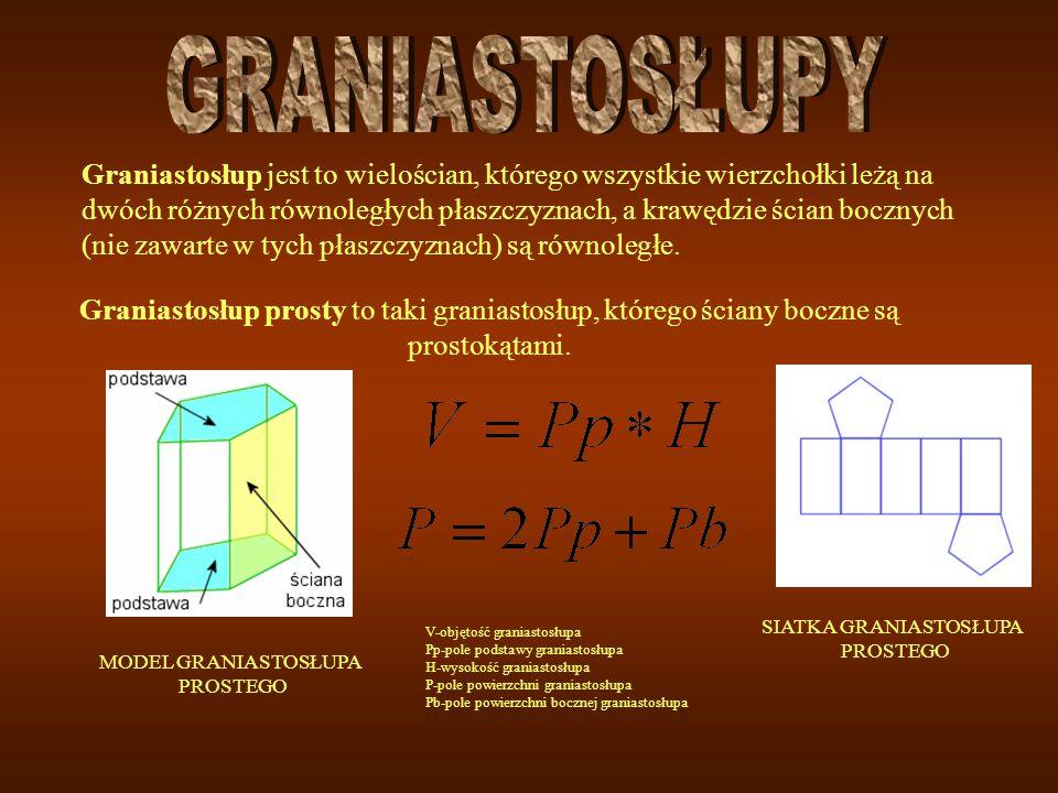 Graniastosłup prosty to taki graniastosłup, którego ściany boczne są prostokątami. MODEL GRANIASTOSŁUPA PROSTEGO V-objętość graniastosłupa Pp-pole pod