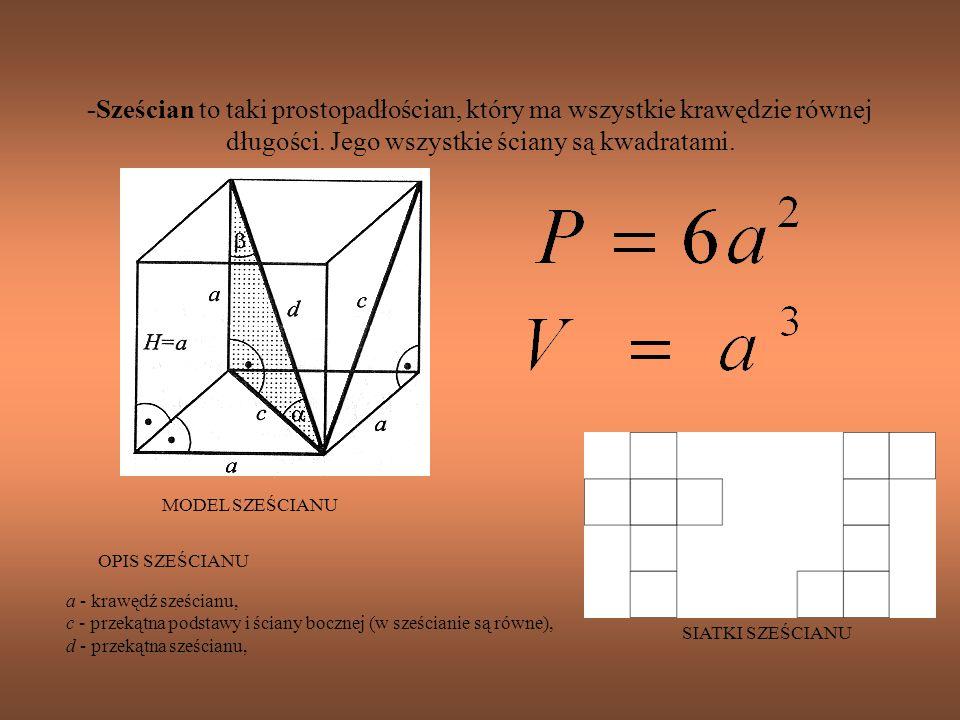 -Sześcian to taki prostopadłościan, który ma wszystkie krawędzie równej długości. Jego wszystkie ściany są kwadratami. a - krawędź sześcianu, c - prze