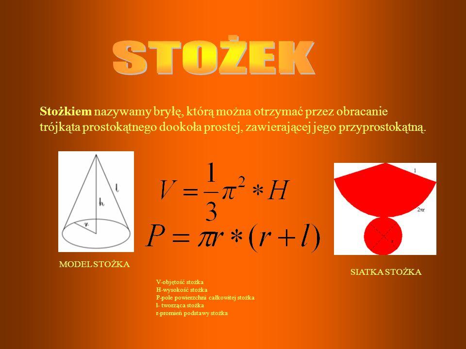 Stożkiem nazywamy bryłę, którą można otrzymać przez obracanie trójkąta prostokątnego dookoła prostej, zawierającej jego przyprostokątną. V-objętość st