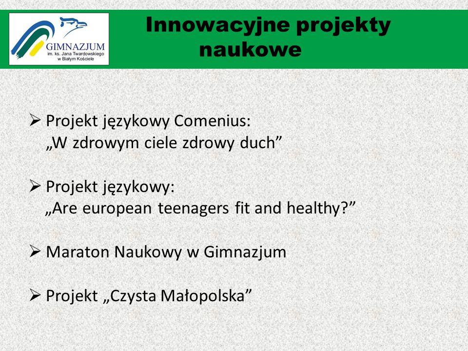 """ Projekt językowy Comenius: """"W zdrowym ciele zdrowy duch  Projekt językowy: """"Are european teenagers fit and healthy  Maraton Naukowy w Gimnazjum  Projekt """"Czysta Małopolska Innowacyjne projekty naukowe"""