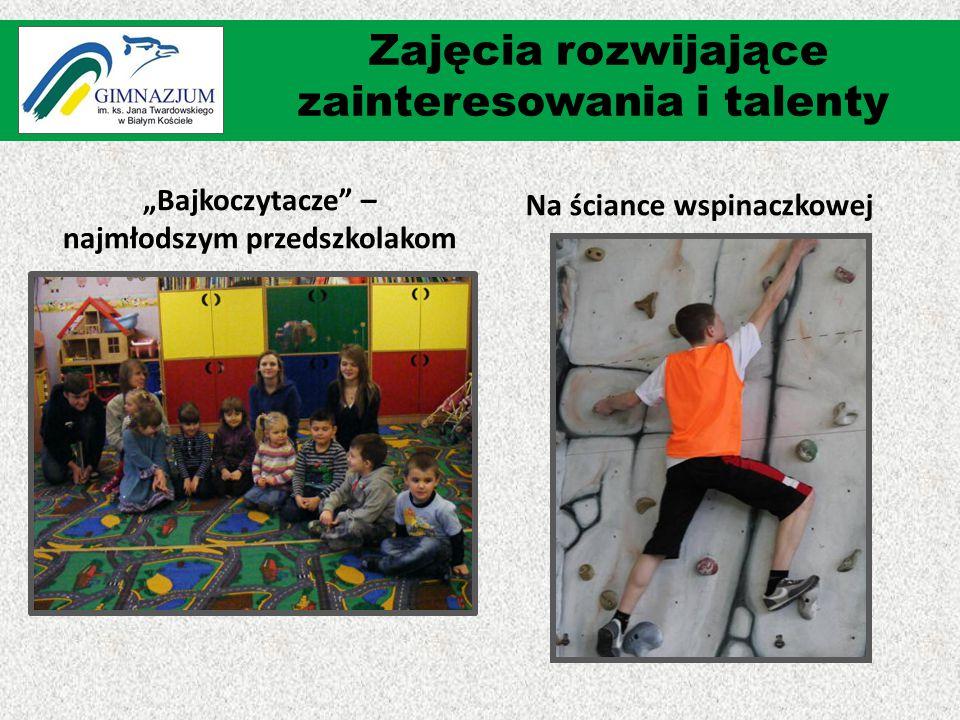 """""""Bajkoczytacze"""" – najmłodszym przedszkolakom Na ściance wspinaczkowej Zajęcia rozwijające zainteresowania i talenty"""