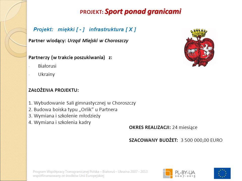 Sport ponad granicami PROJEKT: Sport ponad granicami Partner wiodący: Urząd Miejski w Choroszczy Partnerzy (w trakcie poszukiwania) z: - Białorusi - Ukrainy ZAŁOŻENIA PROJEKTU: 1.
