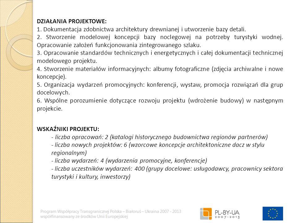 DZIAŁANIA PROJEKTOWE: 1. Dokumentacja zdobnictwa architektury drewnianej i utworzenie bazy detali.