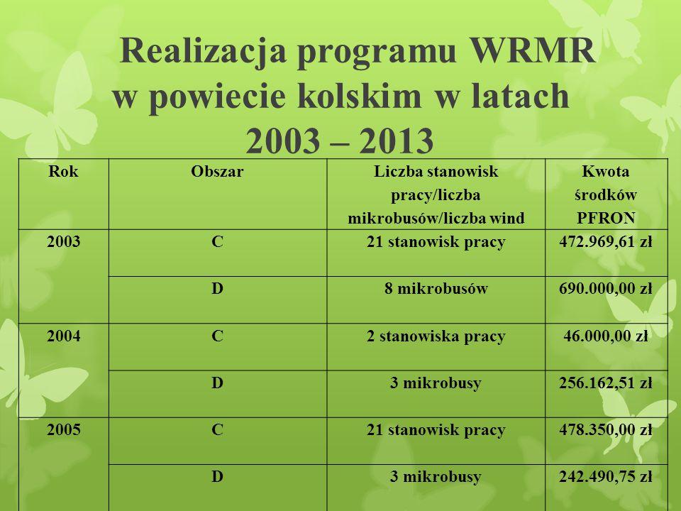 Realizacja programu WRMR w powiecie kolskim w latach 2003 – 2013 RokObszar Liczba stanowisk pracy/liczba mikrobusów/liczba wind Kwota środków PFRON 2003 C 21 stanowisk pracy472.969,61 zł D 8 mikrobusów 690.000,00 zł 2004C 2 stanowiska pracy 46.000,00 zł D 3 mikrobusy 256.162,51 zł 2005C 21 stanowisk pracy 478.350,00 zł D3 mikrobusy 242.490,75 zł