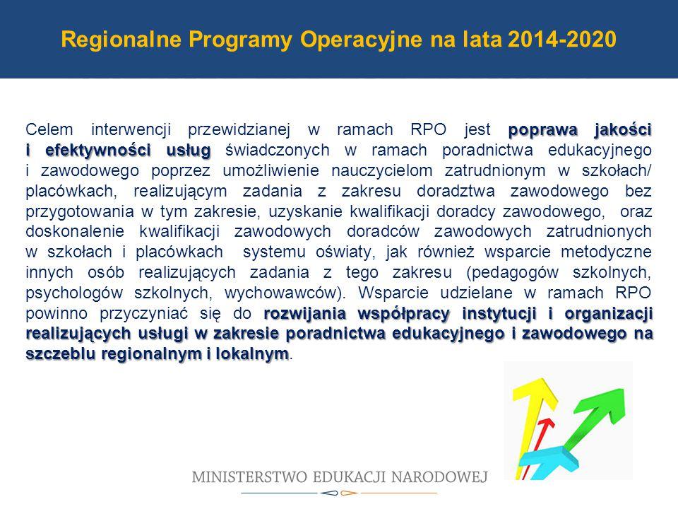 Program Operacyjny PO WER 2014-2020 poprawa jakości i efektywności usług rozwijania współpracy instytucji i organizacji realizujących usługi w zakresie poradnictwa edukacyjnego i zawodowego na szczeblu regionalnym i lokalnym Celem interwencji przewidzianej w ramach RPO jest poprawa jakości i efektywności usług świadczonych w ramach poradnictwa edukacyjnego i zawodowego poprzez umożliwienie nauczycielom zatrudnionym w szkołach/ placówkach, realizującym zadania z zakresu doradztwa zawodowego bez przygotowania w tym zakresie, uzyskanie kwalifikacji doradcy zawodowego, oraz doskonalenie kwalifikacji zawodowych doradców zawodowych zatrudnionych w szkołach i placówkach systemu oświaty, jak również wsparcie metodyczne innych osób realizujących zadania z tego zakresu (pedagogów szkolnych, psychologów szkolnych, wychowawców).