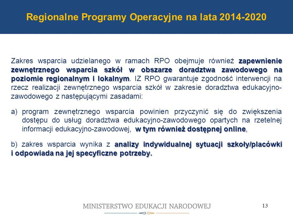 Program Operacyjny PO WER 2014-2020 zapewnienie zewnętrznego wsparcia szkół w obszarze doradztwa zawodowego na poziomie regionalnym i lokalnym Zakres wsparcia udzielanego w ramach RPO obejmuje również zapewnienie zewnętrznego wsparcia szkół w obszarze doradztwa zawodowego na poziomie regionalnym i lokalnym.