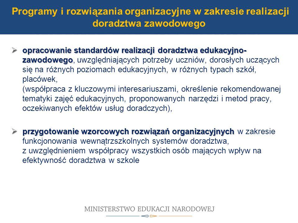 UDZIAŁ W MODERNIZACJI BAZY DYDAKTYCZNEJ  opracowanie standardów realizacji doradztwa edukacyjno- zawodowego  opracowanie standardów realizacji doradztwa edukacyjno- zawodowego, uwzględniających potrzeby uczniów, dorosłych uczących się na różnych poziomach edukacyjnych, w różnych typach szkół, placówek, (współpraca z kluczowymi interesariuszami, określenie rekomendowanej tematyki zajęć edukacyjnych, proponowanych narzędzi i metod pracy, oczekiwanych efektów usług doradczych),  przygotowanie wzorcowych rozwiązań organizacyjnych  przygotowanie wzorcowych rozwiązań organizacyjnych w zakresie funkcjonowania wewnątrzszkolnych systemów doradztwa, z uwzględnieniem współpracy wszystkich osób mających wpływ na efektywność doradztwa w szkole Programy i rozwiązania organizacyjne w zakresie realizacji doradztwa zawodowego