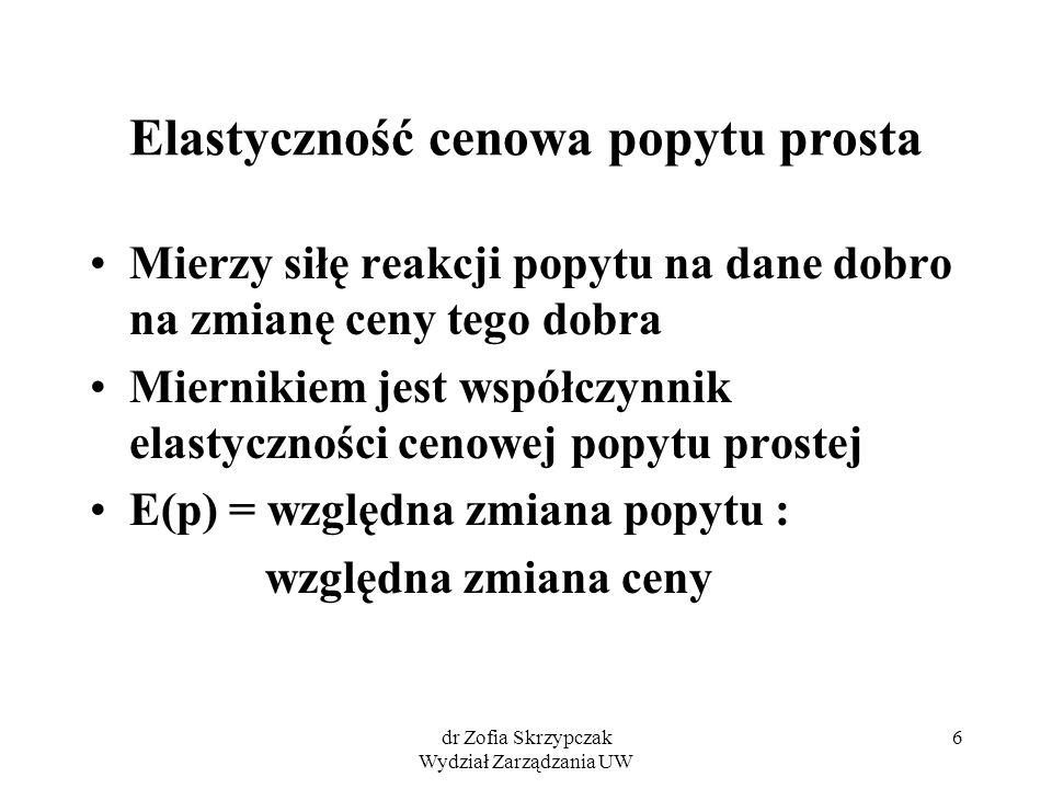 dr Zofia Skrzypczak Wydział Zarządzania UW 7 Elastyczność cenowa popytu prosta dq dp E (p) = ---------- : -------- q 0 p 0