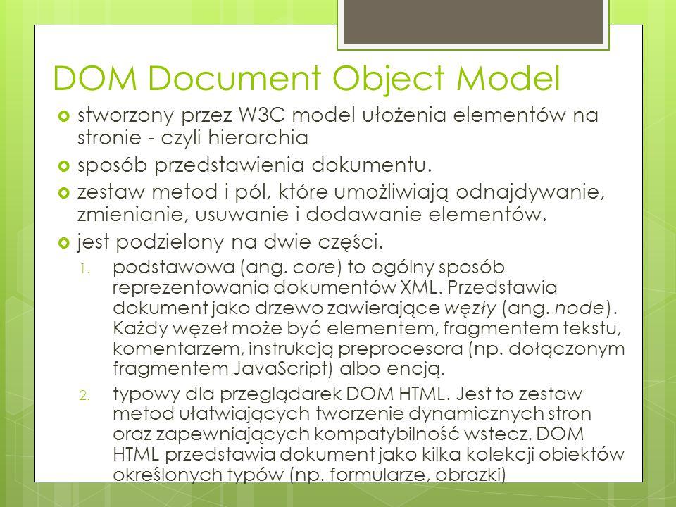  stworzony przez W3C model ułożenia elementów na stronie - czyli hierarchia  sposób przedstawienia dokumentu.  zestaw metod i pól, które umożliwiaj