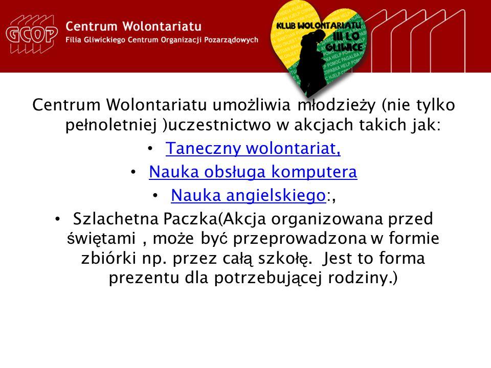 Dzia ł alno ść Wolontariatu III LO przedstawiona na stronie GCOPu