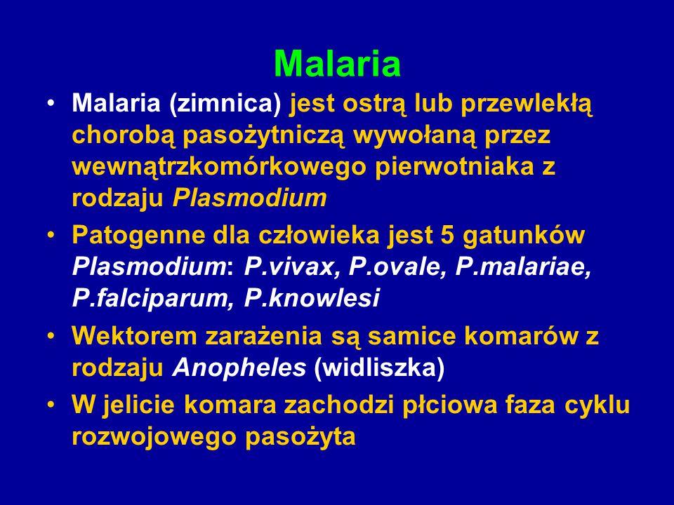 Malaria Malaria (zimnica) jest ostrą lub przewlekłą chorobą pasożytniczą wywołaną przez wewnątrzkomórkowego pierwotniaka z rodzaju Plasmodium Patogenn