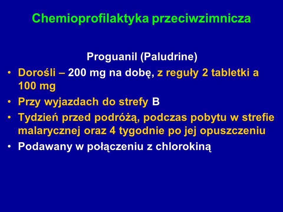 Chemioprofilaktyka przeciwzimnicza Proguanil (Paludrine) Dorośli – 200 mg na dobę, z reguły 2 tabletki a 100 mg Przy wyjazdach do strefy B Tydzień prz
