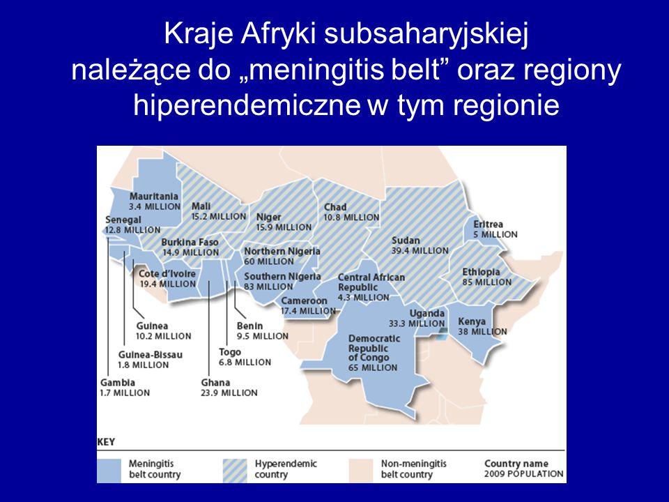 """Kraje Afryki subsaharyjskiej należące do """"meningitis belt"""" oraz regiony hiperendemiczne w tym regionie"""