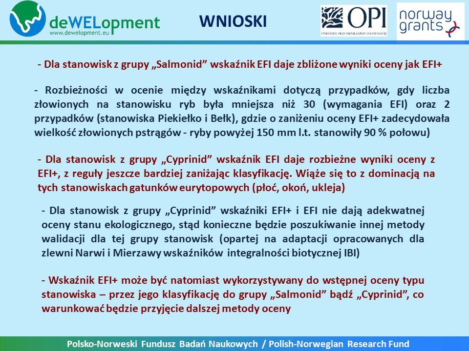 """Polsko-Norweski Fundusz Badań Naukowych / Polish-Norwegian Research Fund WNIOSKI - Dla stanowisk z grupy """"Salmonid wskaźnik EFI daje zbliżone wyniki oceny jak EFI+ - Rozbieżności w ocenie między wskaźnikami dotyczą przypadków, gdy liczba złowionych na stanowisku ryb była mniejsza niż 30 (wymagania EFI) oraz 2 przypadków (stanowiska Piekiełko i Bełk), gdzie o zaniżeniu oceny EFI+ zadecydowała wielkość złowionych pstrągów - ryby powyżej 150 mm l.t."""