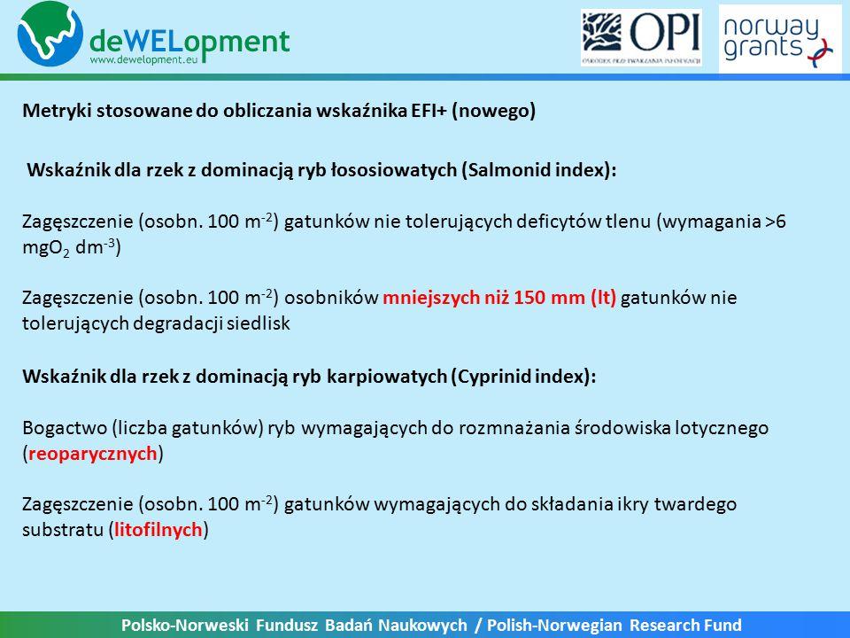 """Polsko-Norweski Fundusz Badań Naukowych / Polish-Norwegian Research Fund Metryki stosowane do obliczania wskaźnika EFI (starego) Struktura troficzna: - zagęszczenie gatunków """"bezkręgowcożernych (+) - zagęszczenie gatunków wszystkożernych (-) Gildie rozrodcze: - zagęszczenie gatunków fitofilnych (-) - względna liczebność gatunków litofilnych (+) Habitat: - liczba gatunków bentonicznych (+) - liczba gatunków reofilnych (+) Tolerancja zakłóceń: - względna liczba gatunków wrażliwych (+) - względna liczba gatunków tolerancyjnych (-) Migracje: - liczba gatunków dwuśrodowiskowych (+) - liczba gatunków potamodromicznych (+)"""