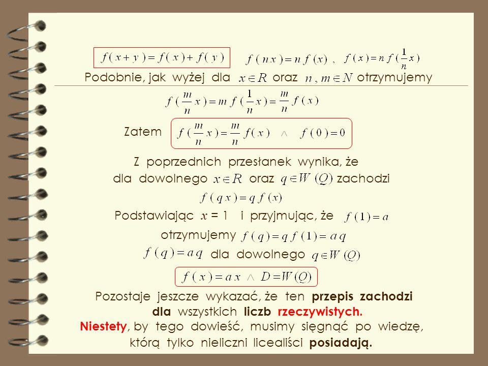 Wykazaliśmy, że funkcja jest rozwiązaniem powyższego równania funkcyjnego. Zauważmy, że z zasady indukcji matematycznej łatwo wykazać Stąd dla dowolne