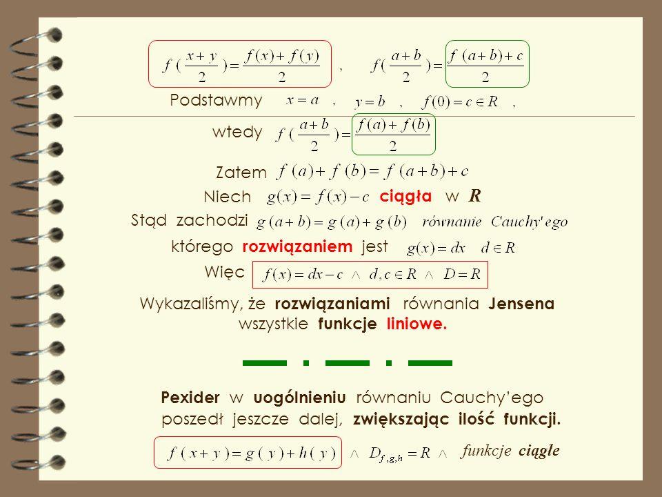 Gdy oznaczymy symbolem c, ciągła w R ciągła w R, Zgodnie z tezą twierdzenia Cauchy'ego, rozwiązaniem jest i wtedy wtedy Matematyczną wyobraźnię i pomy