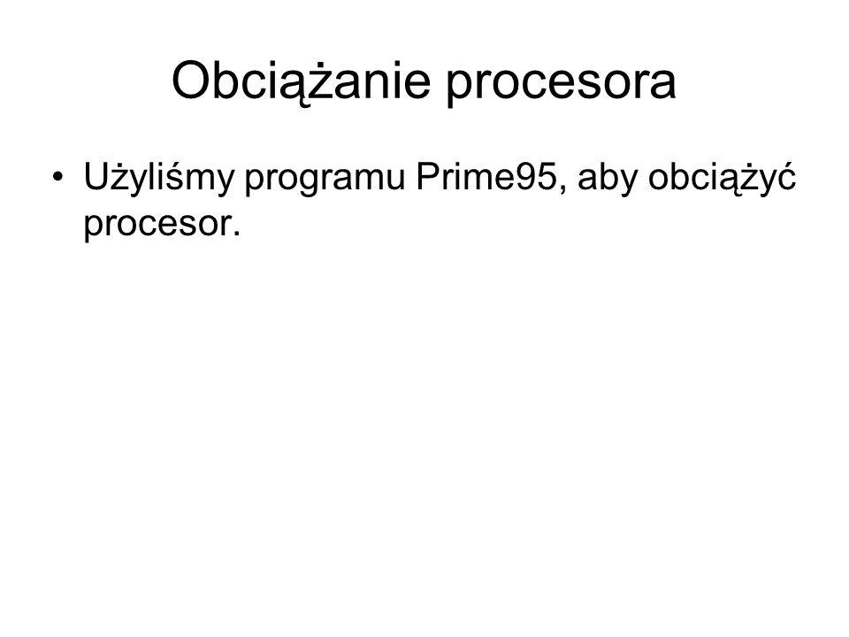 Obciążanie procesora Użyliśmy programu Prime95, aby obciążyć procesor.