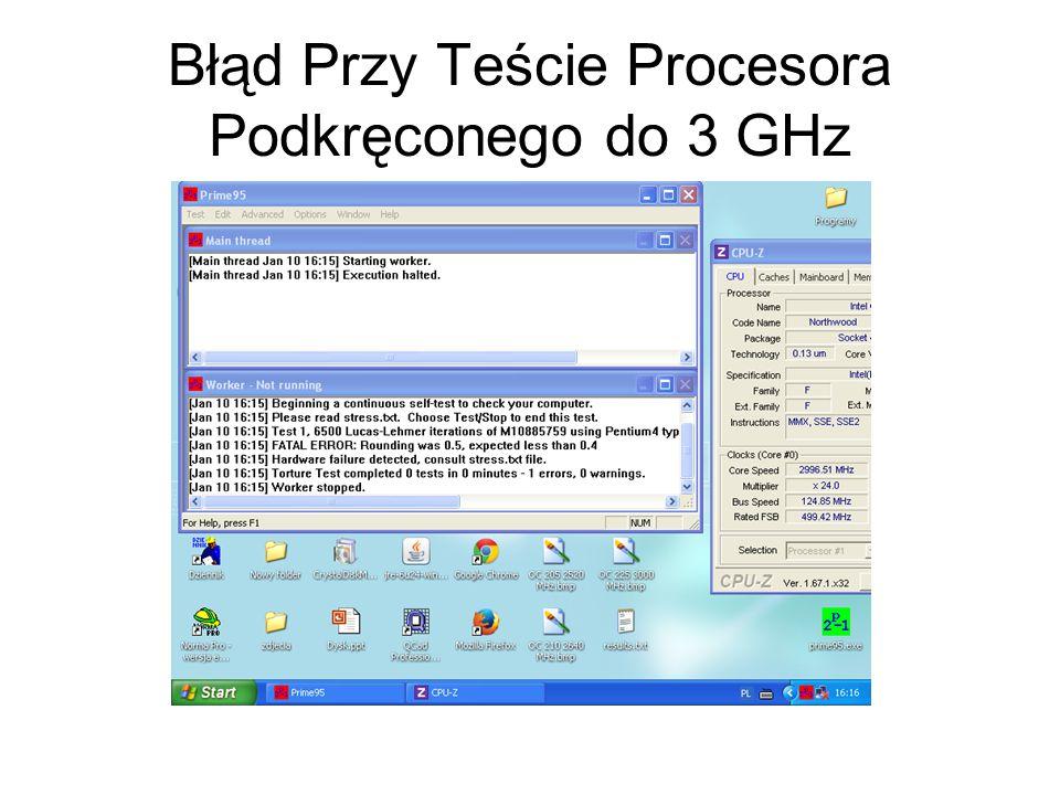 Błąd Przy Teście Procesora Podkręconego do 3 GHz