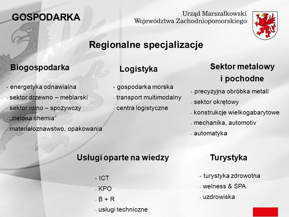 Regionalne specjalizacje Biogospodarka Logistyka TurystykaUsługi oparte na wiedzy Sektor metalowy i pochodne - energetyka odnawialna - sektor drzewno