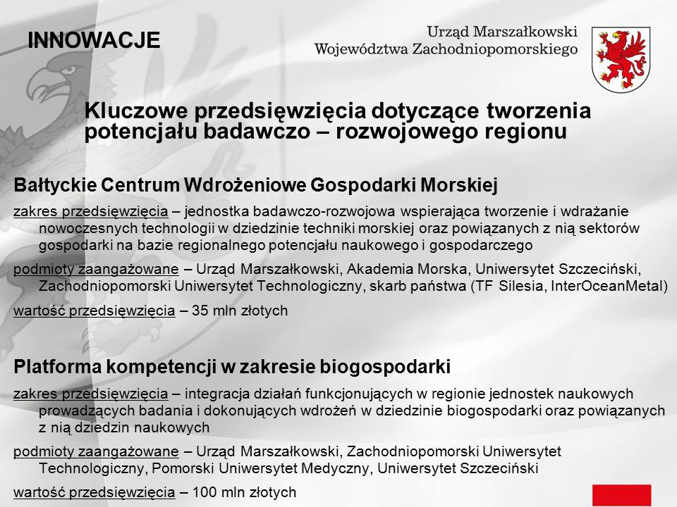 Kluczowe przedsięwzięcia dotyczące tworzenia potencjału badawczo – rozwojowego regionu Bałtyckie Centrum Wdrożeniowe Gospodarki Morskiej zakres przeds