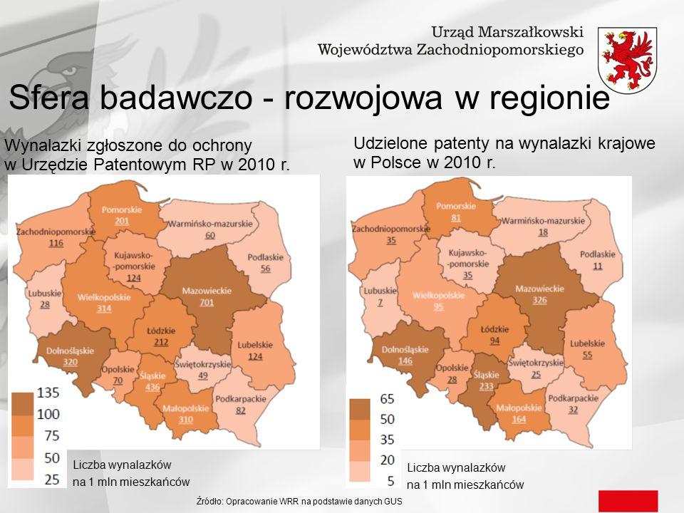 Sfera badawczo - rozwojowa w regionie Wynalazki zgłoszone do ochrony w Urzędzie Patentowym RP w 2010 r. Udzielone patenty na wynalazki krajowe w Polsc