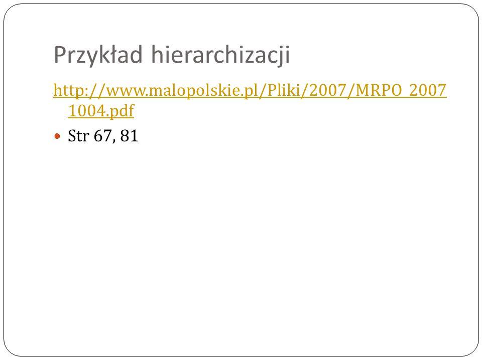 Przykład hierarchizacji http://www.malopolskie.pl/Pliki/2007/MRPO_2007 1004.pdf Str 67, 81