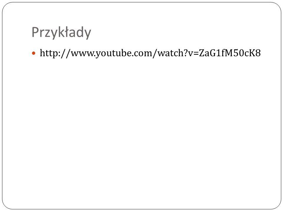 Przykłady http://www.youtube.com/watch v=ZaG1fM50cK8