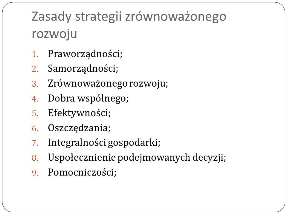 Zasady strategii zrównoważonego rozwoju 1. Praworządności; 2.