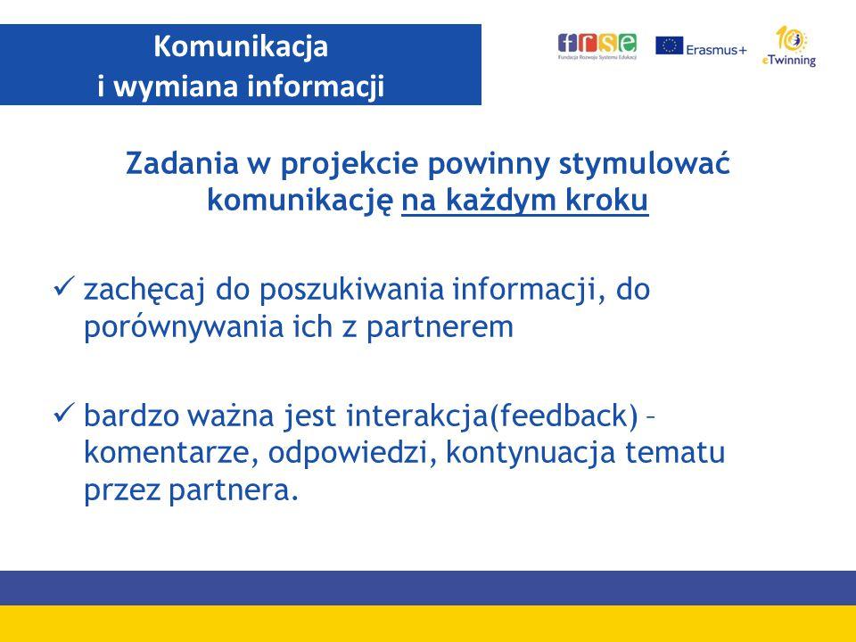 Zadania w projekcie powinny stymulować komunikację na każdym kroku zachęcaj do poszukiwania informacji, do porównywania ich z partnerem bardzo ważna j