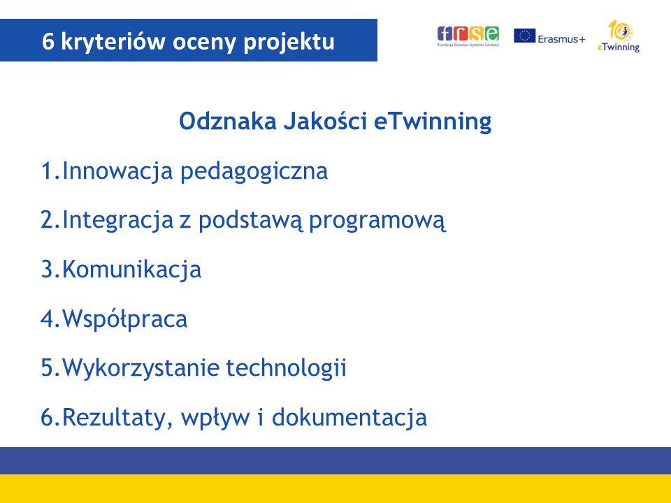Odznaka Jakości eTwinning 1.Innowacja pedagogiczna 2.Integracja z podstawą programową 3.Komunikacja 4.Współpraca 5.Wykorzystanie technologii 6.Rezulta