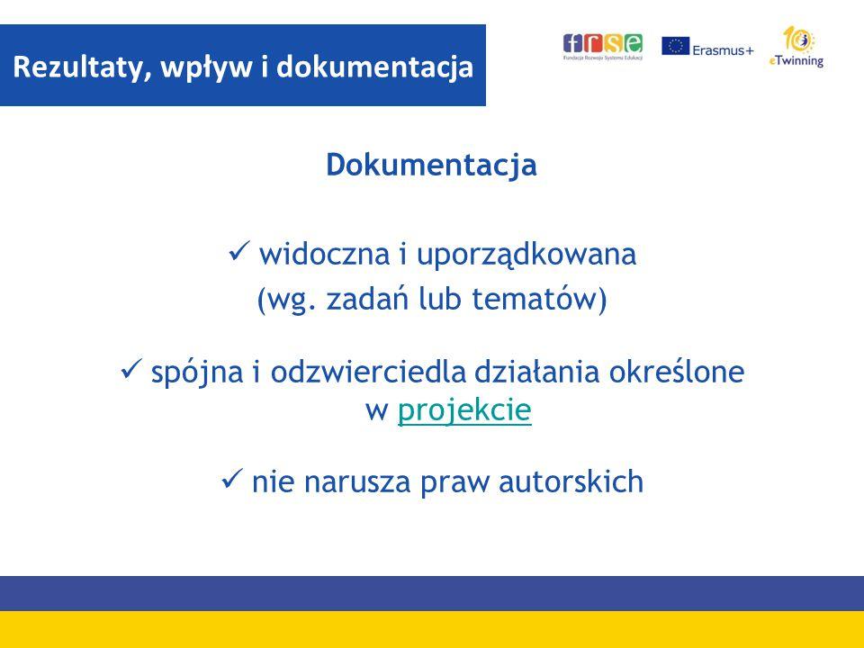 Dokumentacja widoczna i uporządkowana (wg. zadań lub tematów) spójna i odzwierciedla działania określone w projekcieprojekcie nie narusza praw autorsk