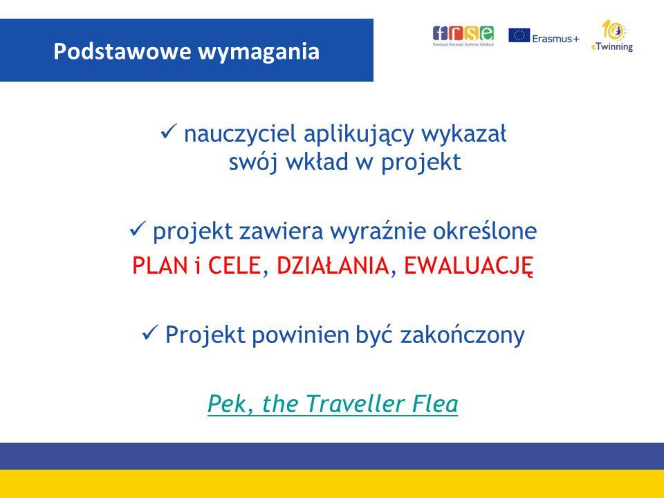 nauczyciel aplikujący wykazał swój wkład w projekt projekt zawiera wyraźnie określone PLAN i CELE, DZIAŁANIA, EWALUACJĘ Projekt powinien być zakończon
