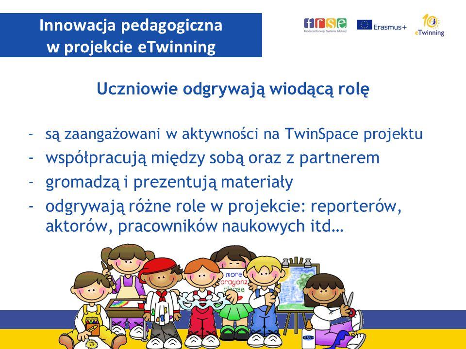 Uczniowie odgrywają wiodącą rolę -są zaangażowani w aktywności na TwinSpace projektu -współpracują między sobą oraz z partnerem -gromadzą i prezentują