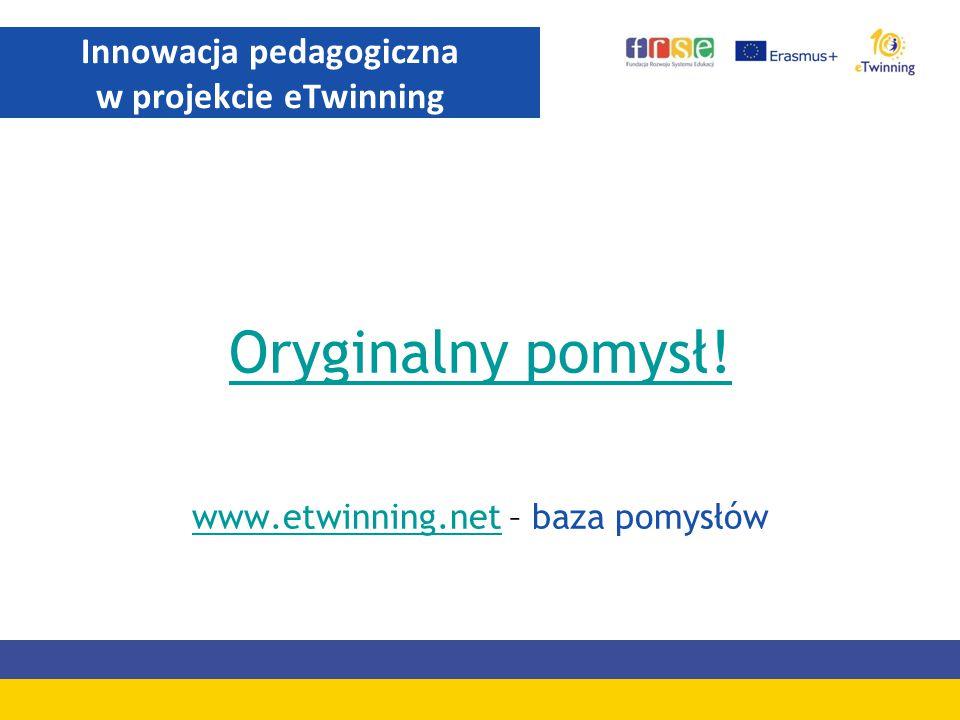 Oryginalny pomysł! www.etwinning.netwww.etwinning.net – baza pomysłów Innowacja pedagogiczna w projekcie eTwinning