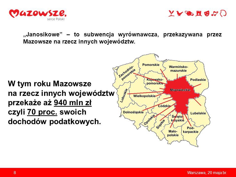 """8Warszawa, 20 maja br. """"Janosikowe"""" – to subwencja wyrównawcza, przekazywana przez Mazowsze na rzecz innych województw. W tym roku Mazowsze na rzecz i"""