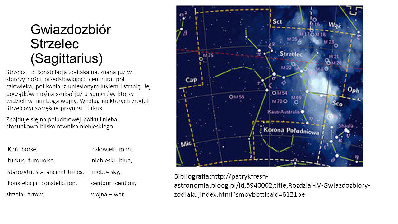 Gwiazdozbiór Strzelec (Sagittarius) Strzelec to konstelacja zodiakalna, znana już w starożytności, przedstawiająca centaura, pół- człowieka, pół-konia, z uniesionym łukiem i strzałą.
