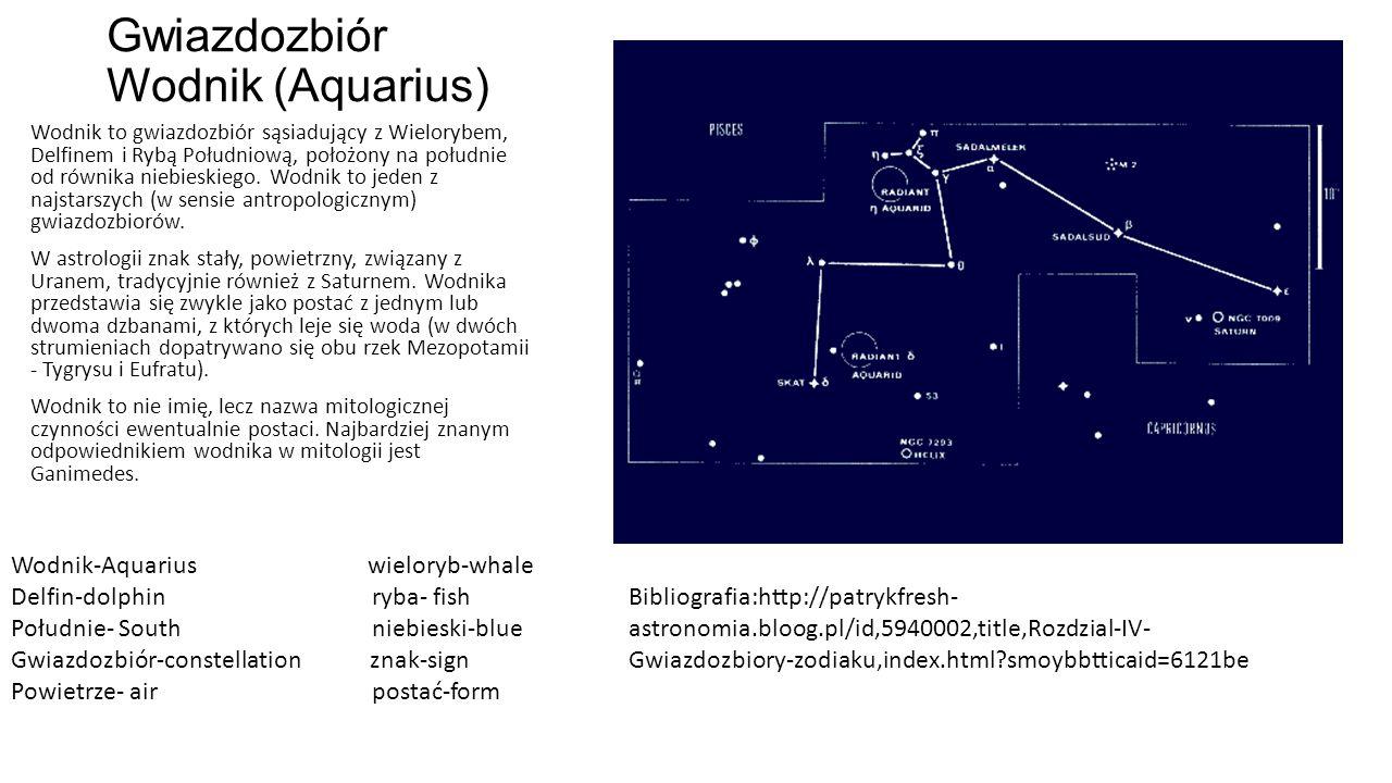 Gwiazdozbiór Wodnik (Aquarius) Wodnik to gwiazdozbiór sąsiadujący z Wielorybem, Delfinem i Rybą Południową, położony na południe od równika niebieskiego.