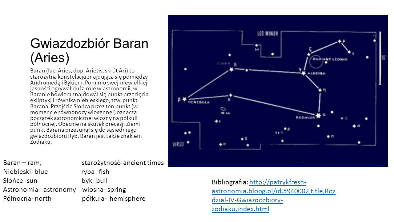 Gwiazdozbiór Baran (Aries) Baran (łac.Aries, dop.