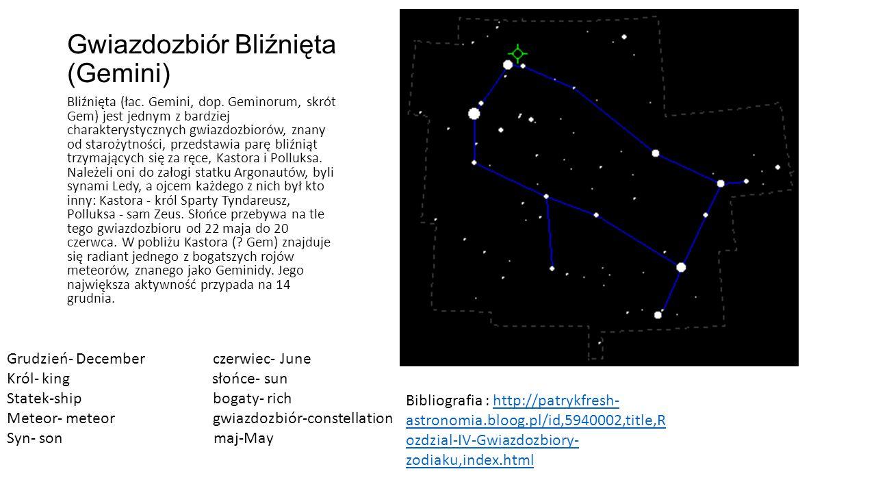 Gwiazdozbiór Bliźnięta (Gemini) Bliźnięta (łac.Gemini, dop.