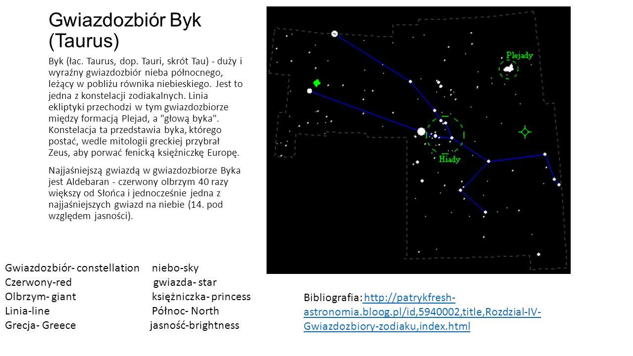 Gwiazdozbiór Byk (Taurus) Byk (łac.Taurus, dop.