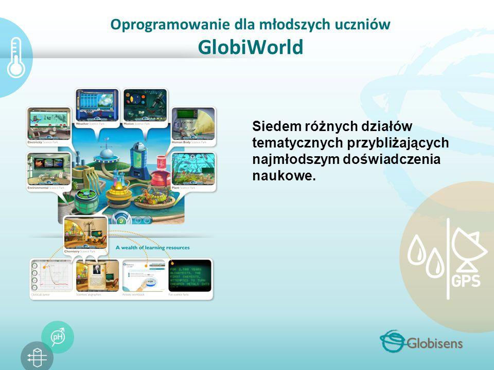 Oprogramowanie dla młodszych uczniów GlobiWorld Siedem różnych działów tematycznych przybliżających najmłodszym doświadczenia naukowe.