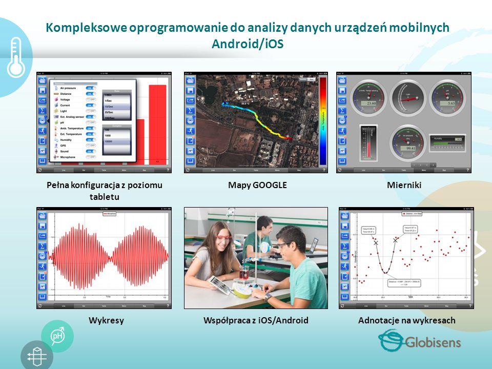 Kompleksowe oprogramowanie do analizy danych urządzeń mobilnych Android/iOS Pełna konfiguracja z poziomu tabletu MiernikiMapy GOOGLE WykresyWspółpraca z iOS/AndroidAdnotacje na wykresach