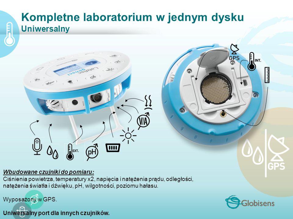 Kompletne laboratorium w jednym dysku Uniwersalny Wbudowane czujniki do pomiaru: Ciśnienia powietrza, temperatury x2, napięcia i natężenia prądu, odległości, natężenia światła i dźwięku, pH, wilgotności, poziomu hałasu.